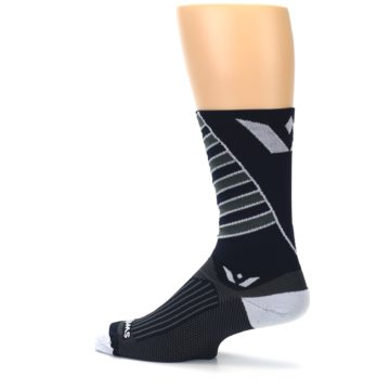 Image of Navy Vision Stripe Men's Tall Crew Athletic Socks (side-2-13)
