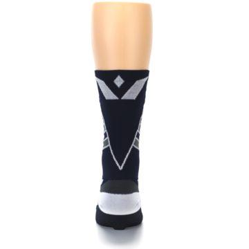 Image of Navy Vision Stripe Men's Tall Crew Athletic Socks (back-18)