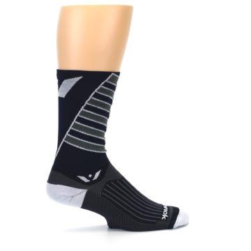 Image of Navy Vision Stripe Men's Tall Crew Athletic Socks (side-1-24)