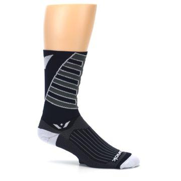 Image of Navy Vision Stripe Men's Tall Crew Athletic Socks (side-1-25)