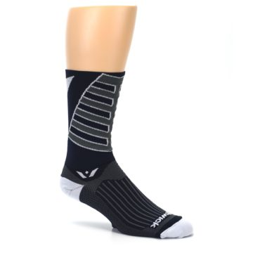 Image of Navy Vision Stripe Men's Tall Crew Athletic Socks (side-1-26)