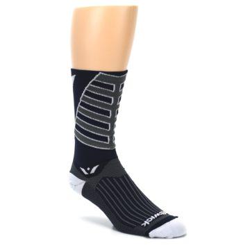 Image of Navy Vision Stripe Men's Tall Crew Athletic Socks (side-1-27)