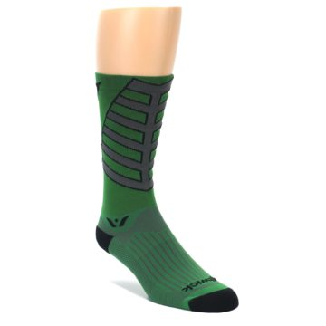 LARGE-Green-Gray-Vision-Stripe-Mens-Tall-Crew-Athletic-Socks-Swiftwick
