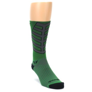 Image of Green Gray Vision Stripe Men's Tall Crew Athletic Socks (side-1-front-02)