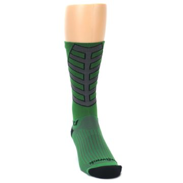 Image of Green Gray Vision Stripe Men's Tall Crew Athletic Socks (side-1-front-03)