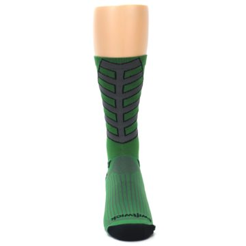 Image of Green Gray Vision Stripe Men's Tall Crew Athletic Socks (front-04)