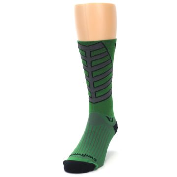 Image of Green Gray Vision Stripe Men's Tall Crew Athletic Socks (side-2-front-06)