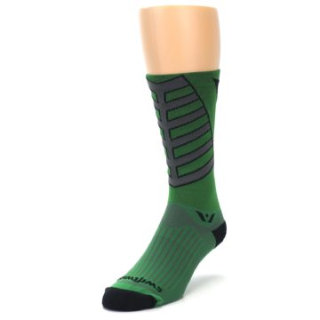 Image of Green Gray Vision Stripe Men's Tall Crew Athletic Socks (side-2-front-07)