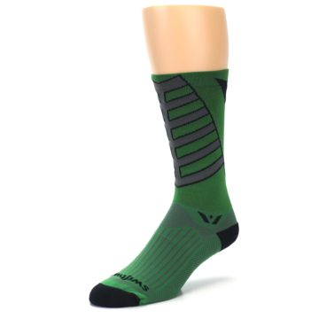 Image of Green Gray Vision Stripe Men's Tall Crew Athletic Socks (side-2-front-08)