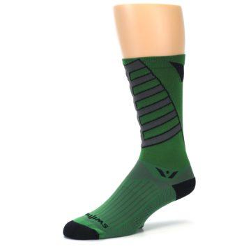 Image of Green Gray Vision Stripe Men's Tall Crew Athletic Socks (side-2-09)