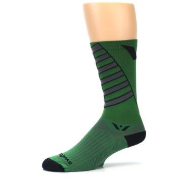 Image of Green Gray Vision Stripe Men's Tall Crew Athletic Socks (side-2-10)