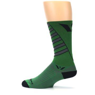 Image of Green Gray Vision Stripe Men's Tall Crew Athletic Socks (side-2-12)