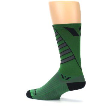 Image of Green Gray Vision Stripe Men's Tall Crew Athletic Socks (side-2-13)