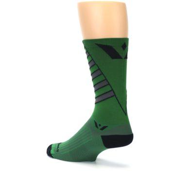 Image of Green Gray Vision Stripe Men's Tall Crew Athletic Socks (side-2-back-14)