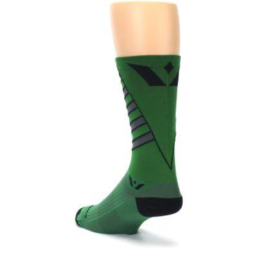 Image of Green Gray Vision Stripe Men's Tall Crew Athletic Socks (side-2-back-15)