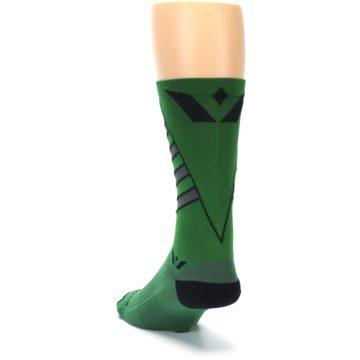 Image of Green Gray Vision Stripe Men's Tall Crew Athletic Socks (side-2-back-16)