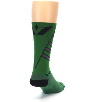 Image of Green Gray Vision Stripe Men's Tall Crew Athletic Socks (side-1-back-20)
