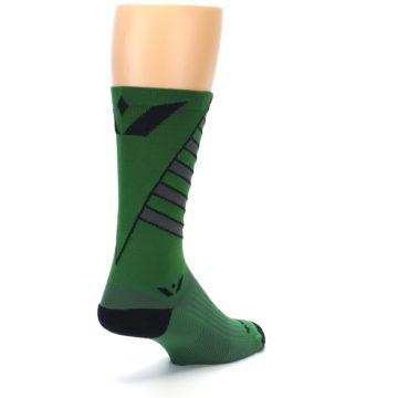 Image of Green Gray Vision Stripe Men's Tall Crew Athletic Socks (side-1-back-21)