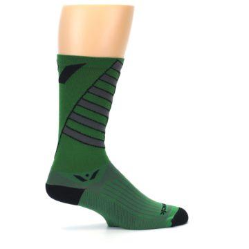 Image of Green Gray Vision Stripe Men's Tall Crew Athletic Socks (side-1-24)