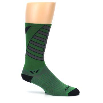 Image of Green Gray Vision Stripe Men's Tall Crew Athletic Socks (side-1-25)