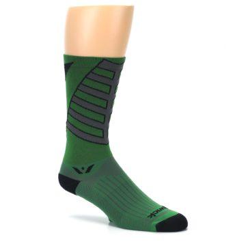 Image of Green Gray Vision Stripe Men's Tall Crew Athletic Socks (side-1-26)
