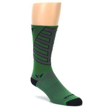 Image of Green Gray Vision Stripe Men's Tall Crew Athletic Socks (side-1-27)