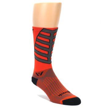 Image of Orange Gray Vision Stripe Men's Tall Crew Athletic Socks (side-1-front-01)