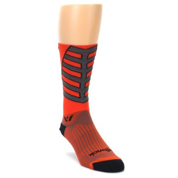 Image of Orange Gray Vision Stripe Men's Tall Crew Athletic Socks (side-1-front-02)