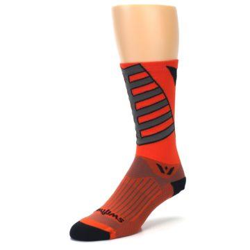 Image of Orange Gray Vision Stripe Men's Tall Crew Athletic Socks (side-2-front-08)