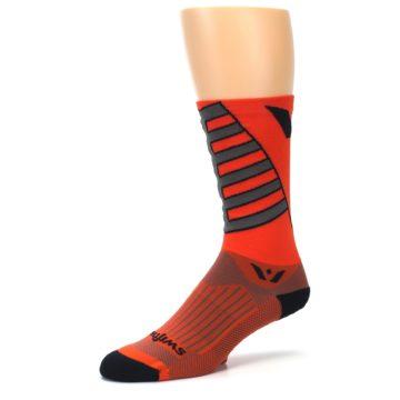 Image of Orange Gray Vision Stripe Men's Tall Crew Athletic Socks (side-2-09)