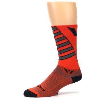 Image of Orange Gray Vision Stripe Men's Tall Crew Athletic Socks (side-2-10)