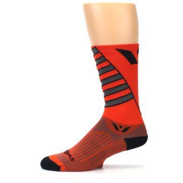 Image of Orange Gray Vision Stripe Men's Tall Crew Athletic Socks (side-2-11)