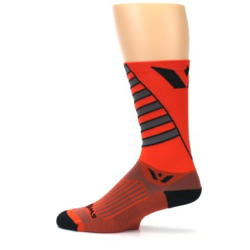 Image of Orange Gray Vision Stripe Men's Tall Crew Athletic Socks (side-2-12)