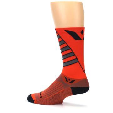 Image of Orange Gray Vision Stripe Men's Tall Crew Athletic Socks (side-2-13)