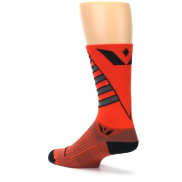 Image of Orange Gray Vision Stripe Men's Tall Crew Athletic Socks (side-2-back-14)