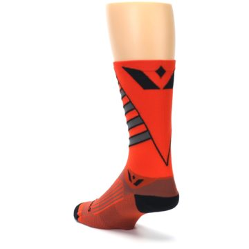 Image of Orange Gray Vision Stripe Men's Tall Crew Athletic Socks (side-2-back-15)