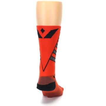 Image of Orange Gray Vision Stripe Men's Tall Crew Athletic Socks (back-19)