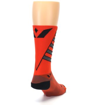 Image of Orange Gray Vision Stripe Men's Tall Crew Athletic Socks (side-1-back-20)