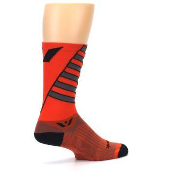 Image of Orange Gray Vision Stripe Men's Tall Crew Athletic Socks (side-1-23)