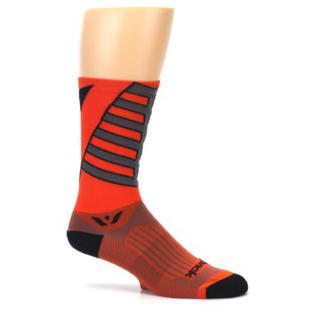Image of Orange Gray Vision Stripe Men's Tall Crew Athletic Socks (side-1-25)