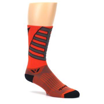 Image of Orange Gray Vision Stripe Men's Tall Crew Athletic Socks (side-1-26)