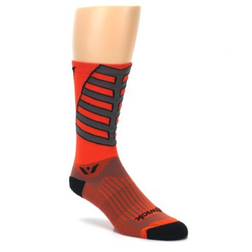 Image of Orange Gray Vision Stripe Men's Tall Crew Athletic Socks (side-1-27)