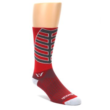 LARGE-Red-Gray-Vision-Stripe-Mens-Tall-Crew-Athletic-Socks-Swiftwick