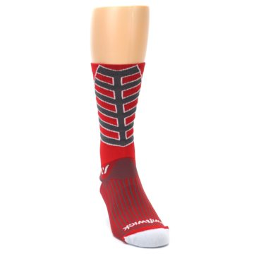 Image of Red Gray Vision Stripe Men's Tall Crew Athletic Socks (side-1-front-03)