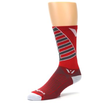 Image of Red Gray Vision Stripe Men's Tall Crew Athletic Socks (side-2-09)