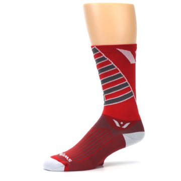Image of Red Gray Vision Stripe Men's Tall Crew Athletic Socks (side-2-10)