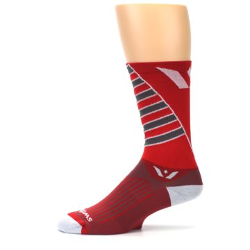 Image of Red Gray Vision Stripe Men's Tall Crew Athletic Socks (side-2-11)