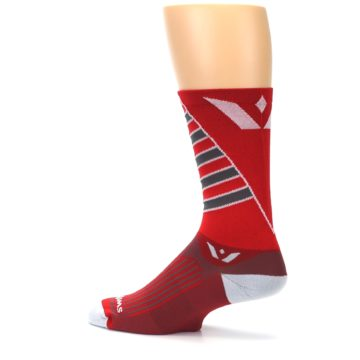 Image of Red Gray Vision Stripe Men's Tall Crew Athletic Socks (side-2-13)