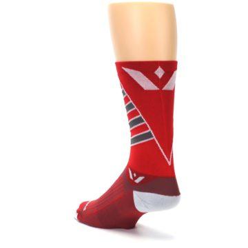 Image of Red Gray Vision Stripe Men's Tall Crew Athletic Socks (side-2-back-15)