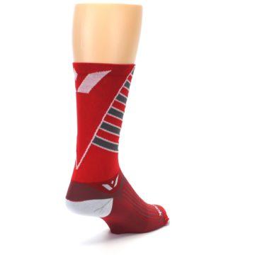 Image of Red Gray Vision Stripe Men's Tall Crew Athletic Socks (side-1-back-21)